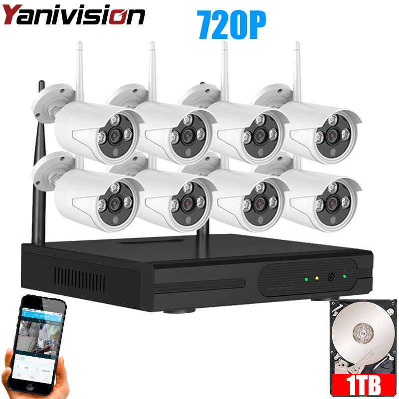 CCTV System 720P 8CH HD Wireless kit Night Vision IP Camera wifi Camera kit Home Security System video Surveillance Yanivision ahd wireless security camera system video surveillance kit 4ch wifi dvr kit hd 720p night vision wireless cctv ip camera kit set