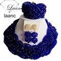 Moda Royal Blue Torcedura Collares de Cristal Africana de Nigeria Boda Perlas Africanas Joyería Conjunto ABG076