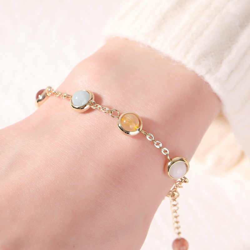 The Rainbow Sugar Bracelet Titanium Stainless Steel Material Inlaid Natural Jewel Gold Color Trendy Bracelets Women Jewelry