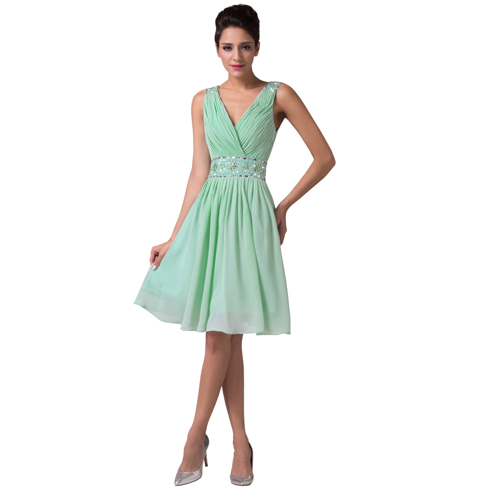 Elegant Simple Mint Green Chiffon Backless Grace Karin Short Evening Dress  Sleeveless V Neck Formal Party Dresses 2016 CL6104-in Evening Dresses from  ... 594ef1693d69