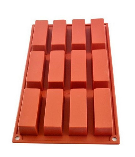 12 Cavities Rectangle Silicone Oven Handmade Soap Moulds Soap DIY Moulds Chocolate Mold