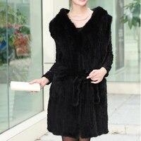 2018 осень зима Для женщин из натуральной норки меховой жилет с капюшоном Леди Мода жилет женский жилет черный коричневый