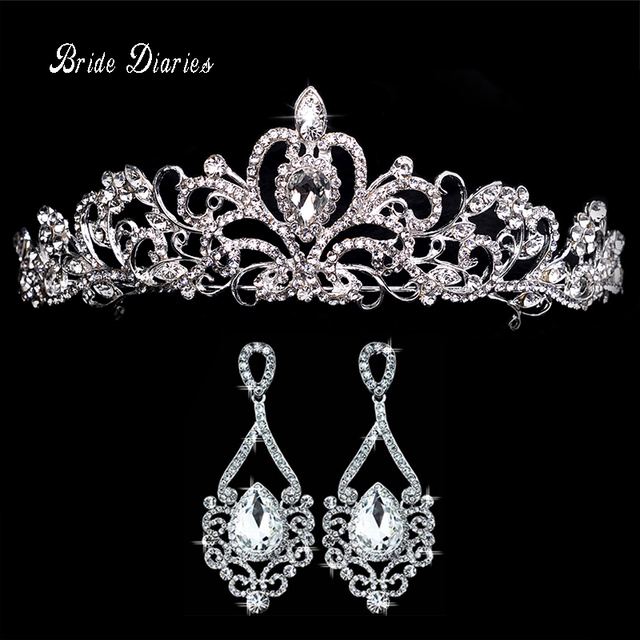 Tiaras and Earrings Crowns Wedding Sets Bride Hair Accessoriesin