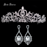 Tiaras And Earrings Crowns Wedding Jewelry Sets Bride Hair Accessories