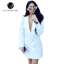 Casual Autumn Work White Long Sleeve Suit Blazer Women Double Breasted Ladies Blazers 2016 Winter Coat Jacket Office Outwear