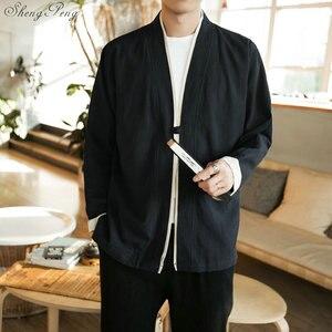 Kimono Cárdigan para hombre, kimono negro japonés para hombre, disfraz de samurai para hombre, ropa japonesa yukata haori Q687