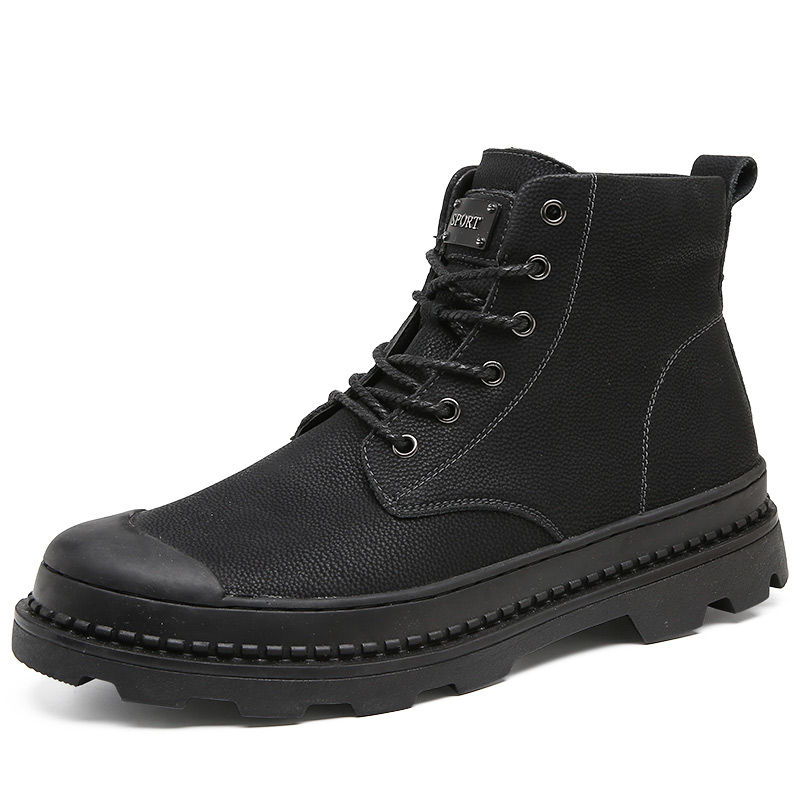 WeiDeng Genuine Leather Stitching Splicing Martin Boots Winter British High Helps Dress Short Plush Lace-up Mens Shoes Black artificial leather splicing lace bandage leggings black