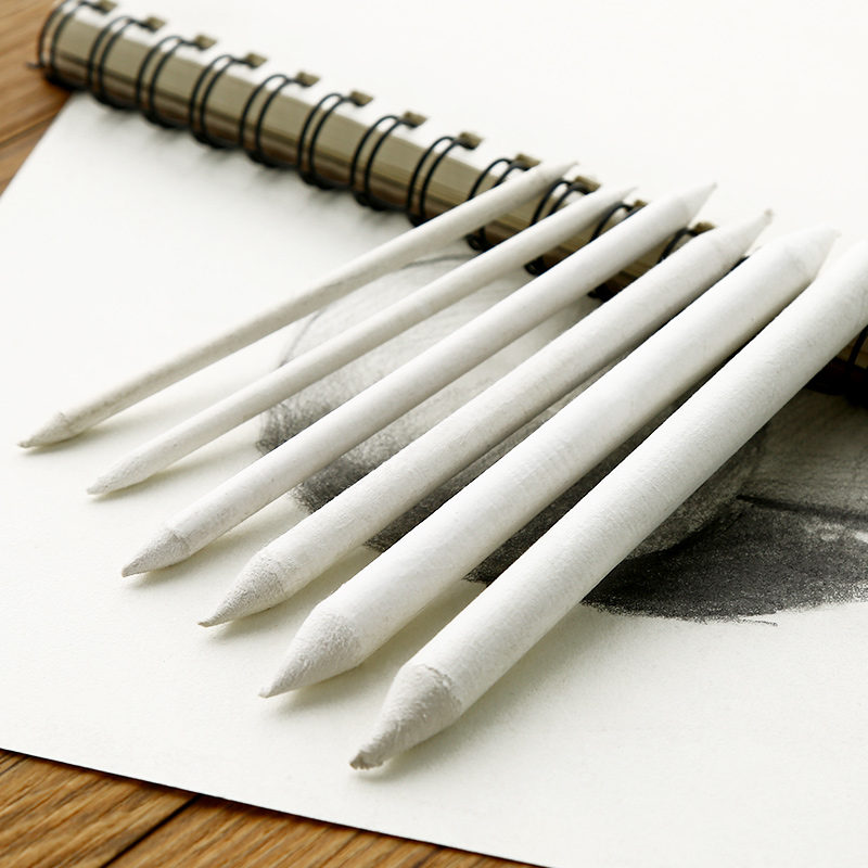 Bianyo 6pcs/set Blending Smudge Stump Stick Tortillon Sketch Art White Drawing Charcoal Sketcking Tool Rice Paper Pen Supplies