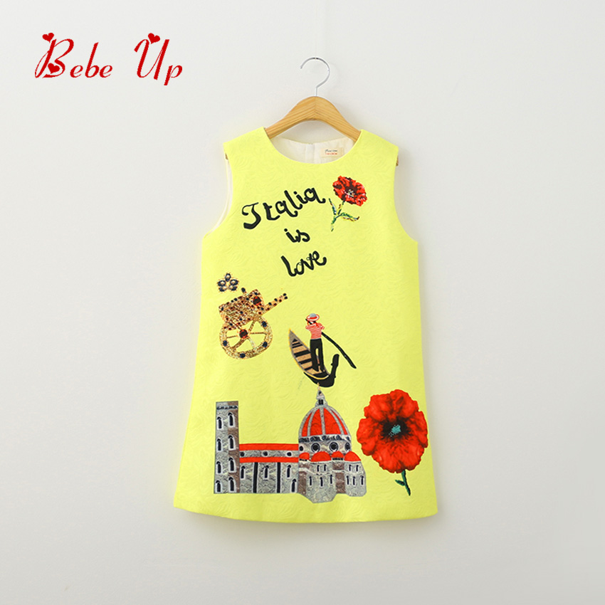 Çocuklar Kızlar Için Elbiseler Kolsuz Kızlar Yaz Elbise Sarı Çocuk Giyim Çiçek Grafiti Baskı Güzel Toddler Elbise