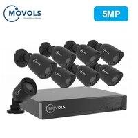 MOVOLS 5MP CCTV камера система безопасности комплект 5mp HD камера Открытый ИК для камеры наблюдения система наблюдения 8ch комплект для видеонаблюде...