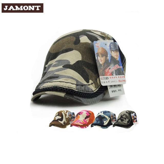 Jamont moda camuflaje Viseras boina sombreros de algodón para hombres y mujeres  Sol sombrero planas gorras dd1e72699fa