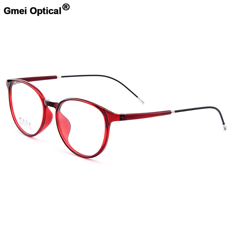 Gmei Optical New Ultralight TR90 Women's Round Optical Eyeglasses Frames Men's Plastic Myopia Eyewear 5 Colors Optional M3009