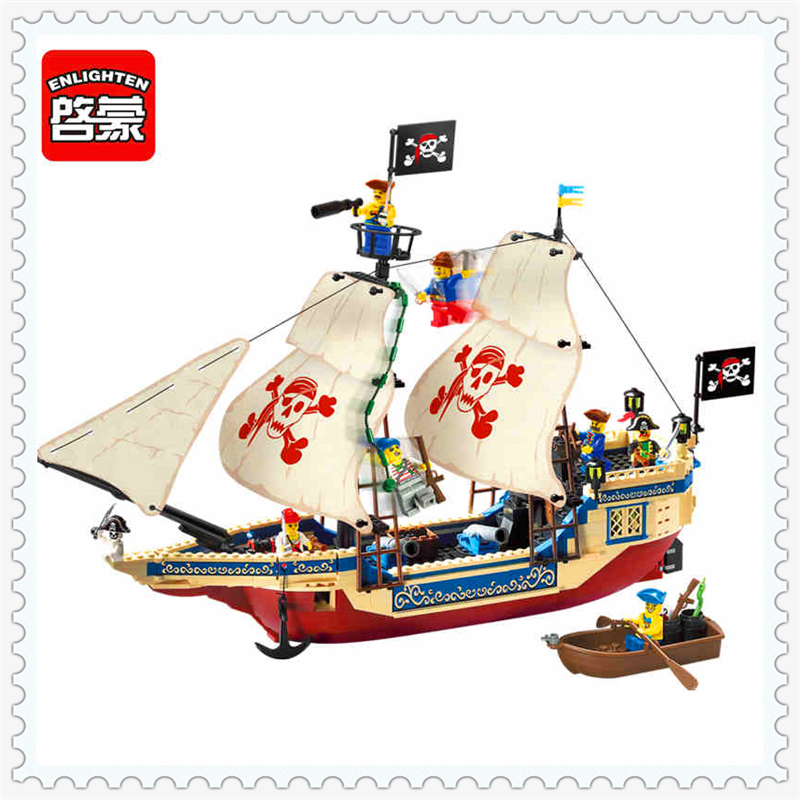 ENLIGHTEN 311 Naval Supremacy Pirate Ship Model Building Block Compatible Legoe 487Pcs   Toys For Children lepin 16002 pirate ship metal beard s sea cow model building kit block 2791pcs bricks compatible with legoe caribbean 70810
