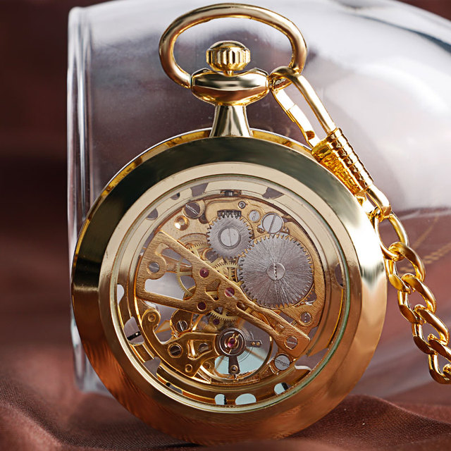 2016 Luxury Gold Skelton Open Face Transparent Mechanical Hand Winding Pocket Fob Watch Vintage Clock For Men Women Xmas Gift