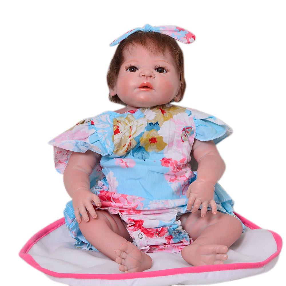 23'' Full Silicone Vinyl Reborn Baby Doll Realistic Girl Babies Dolls 57 cm Lifelike Princess bebe Reborn Bonecas Kid Xmas Gifts цена 2017