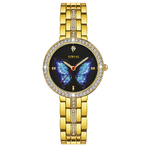 Image 5 - Stryve 新人デザイナーレディース腕時計合金のファッション蝶クリスタルダイヤル防水クォーツの高級女性の腕時計送料無料でブレスレット