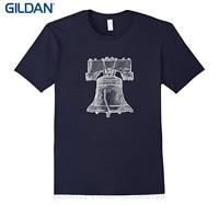 GILDAN Newest 2017 T Shirt Men Tshirt Liberty Bell Philadelphia Us Independence Hall T Shirt
