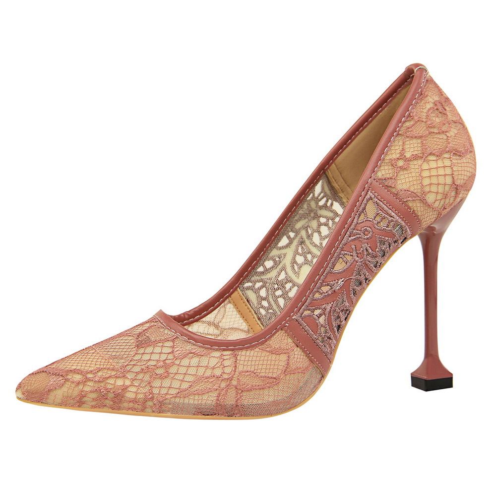 Shoes Woman High Heels Pumps Red 12CM ultra-high heel pointed mesh lace hollow single Wedding Black Nude