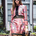 Qualidade superior de Luxo 2 peça conjuntos de Pista Mulheres Mandarim Collar Jaqueta Curta + bandagem vestido Estampado cheongsam estilo roupas OM185