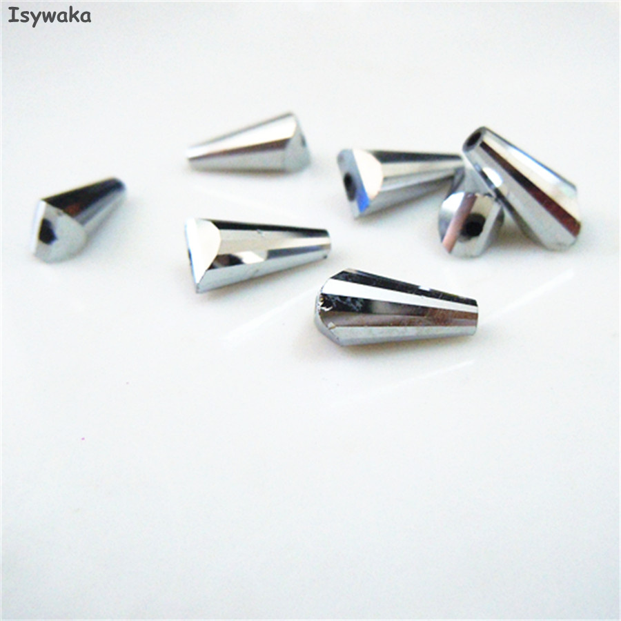 Shining Silver Color 50pcs 6X12MM Tower Shape Austria Crystal Beads Glass Beads Loose Spacer Bead For DIY Jewelry Making