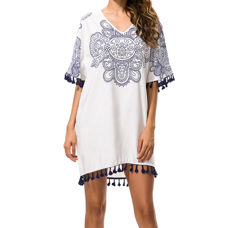 Blue And White Porcelain Pattern Print Loose Dress for Ladies V Neck Half Batwing Sleeve Mini Dress Summer Straight dresses