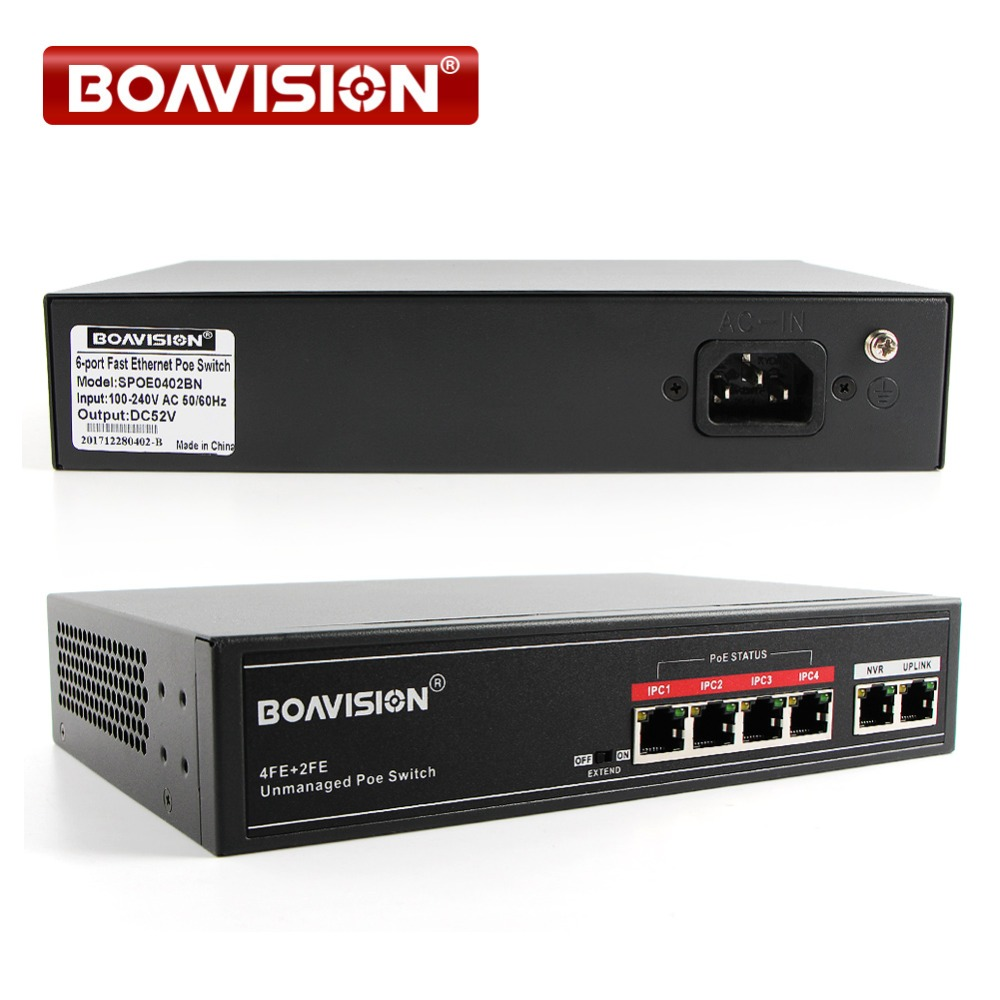 65W 4 POE Ports Fast Ethenet 10/100Mbps 1Gbps IEEE802.3at/af PoE Switch PoE Adapter Max 30W Single Port Support POE IP Camera