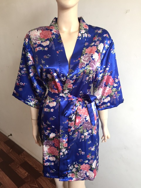 Flower Print Satin Kimono Night Robe