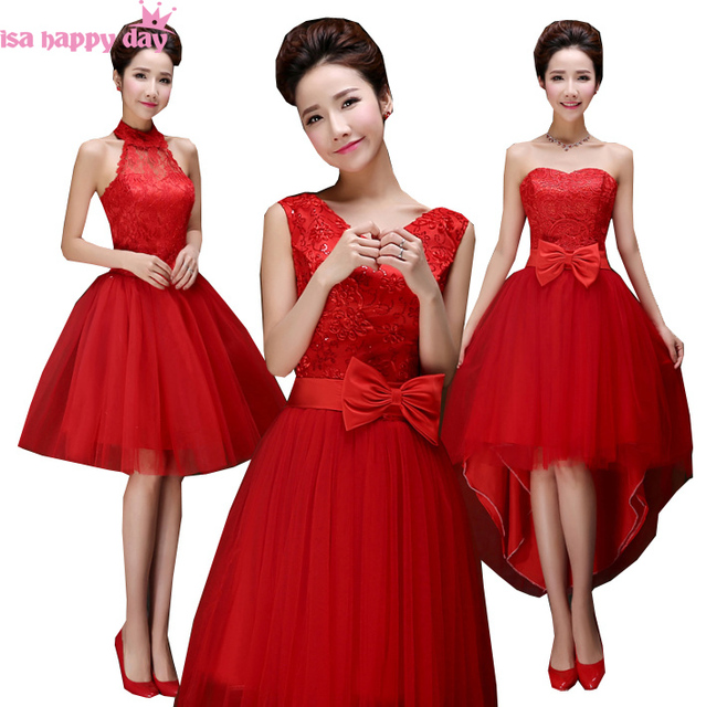 Junior Red Short Vintage Tulle Bridesmaid Dress Formal Bridesmaids Party Dresses Under 50 For