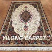 YILONG 5'x8' Persian silk carpet rectangle vantage hand knotted turkish silk rug for sale (ZQG140A5x8)