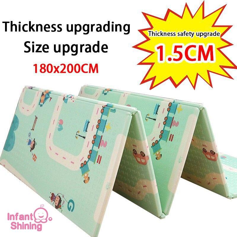 Bébé brillant épaissi 1.5 cm tapis de jeu 200*180 cm pliable dessin animé bébé tapis de jeu enfants ramper Pad Puzzle antidérapant tapis de jeu