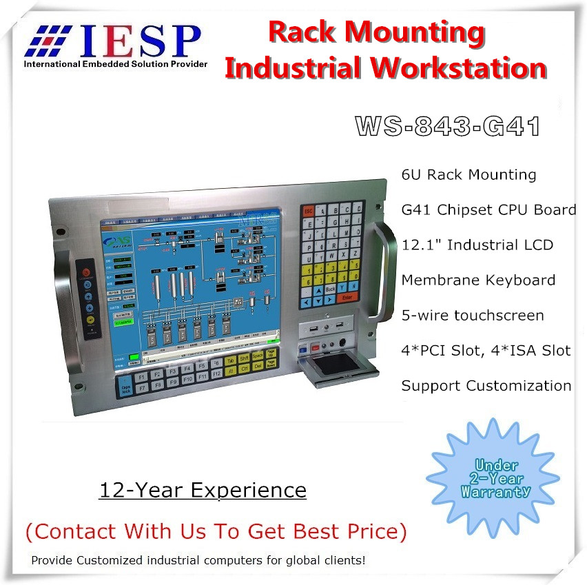 6U 19'' Rack Mount Industrial Workstation, E5300 (2M Cache, 2.60 GHz), 4GB Memory, 500GB HDD, 4xPCI,4xISA