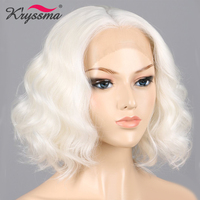White Wig Short Bob Synthetic Lace Front Wig Wavy Wigs for Women Middle Part Helloween Party Fake Hair Heat Resistant Fiber