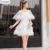 Для женщин плащ рукавом сексуальное вечернее платье белое перо Лоскутная клуб мяч летом кисточкой Сладкий мини платья принцессы vestido