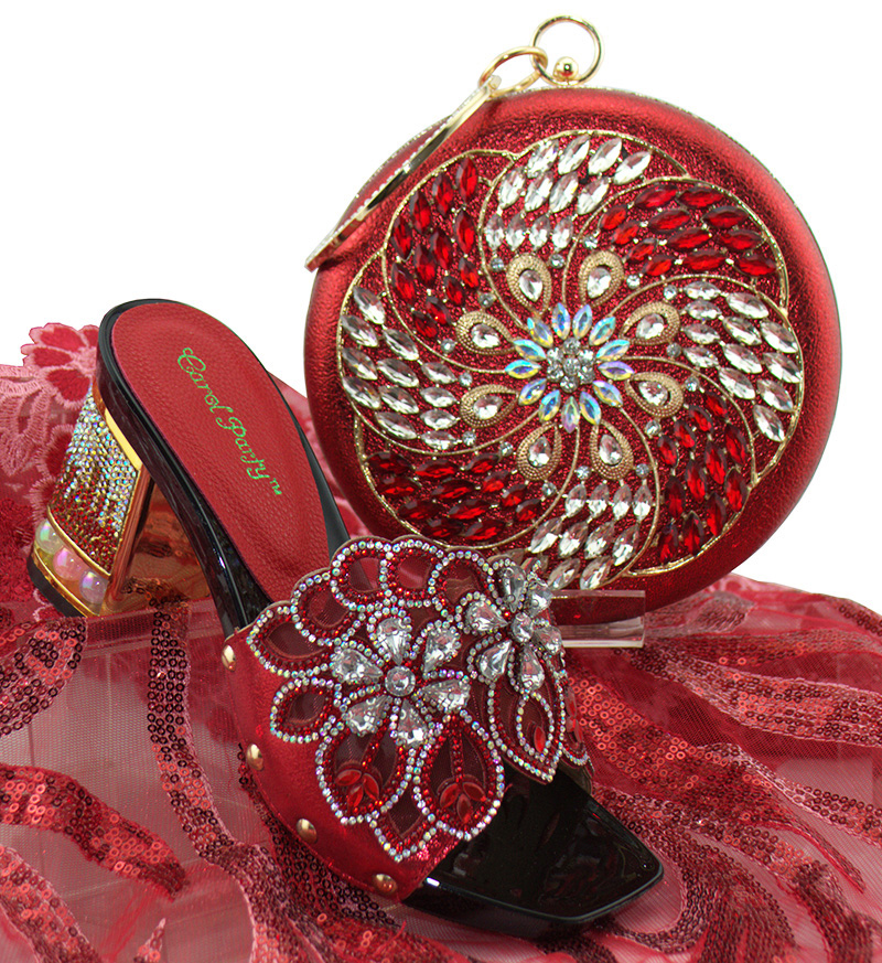 Red Shoes and Bag Set African Sets Italian Shoes with Matching Bags High Quality Women Shoes and Bag To Match! QSL002 high quality heels pumps shoes african design women shoes and bag set to match italian shoes with matching bags set me3316