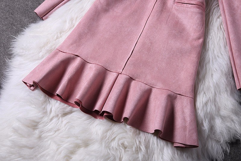 O-Neck Long Sleeve Suede Mini Dress 8