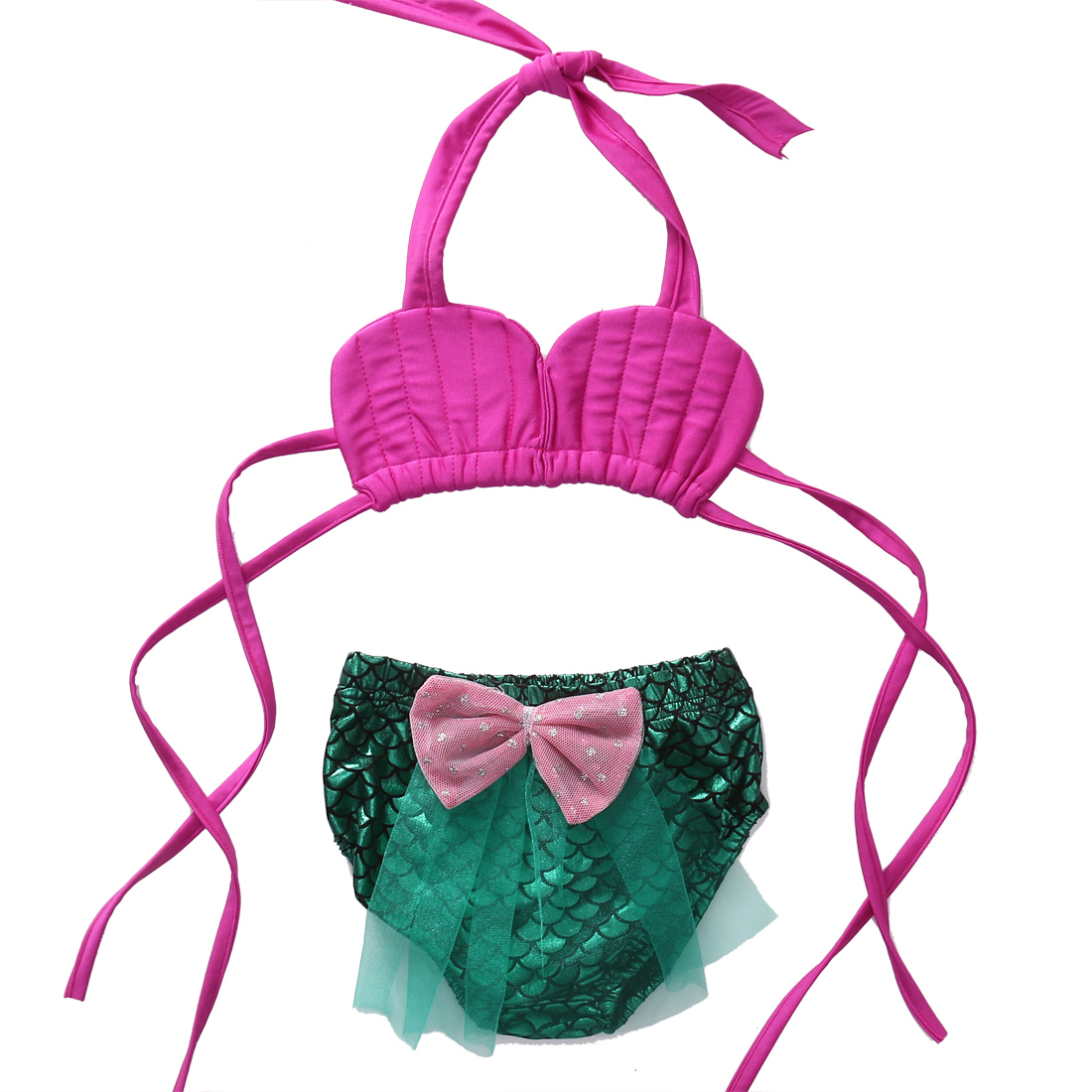 Summer Cute Toddles Kids Baby Girls Mermaid Costume Swimwear Set Halter Bow Bathing Suit 2018 New