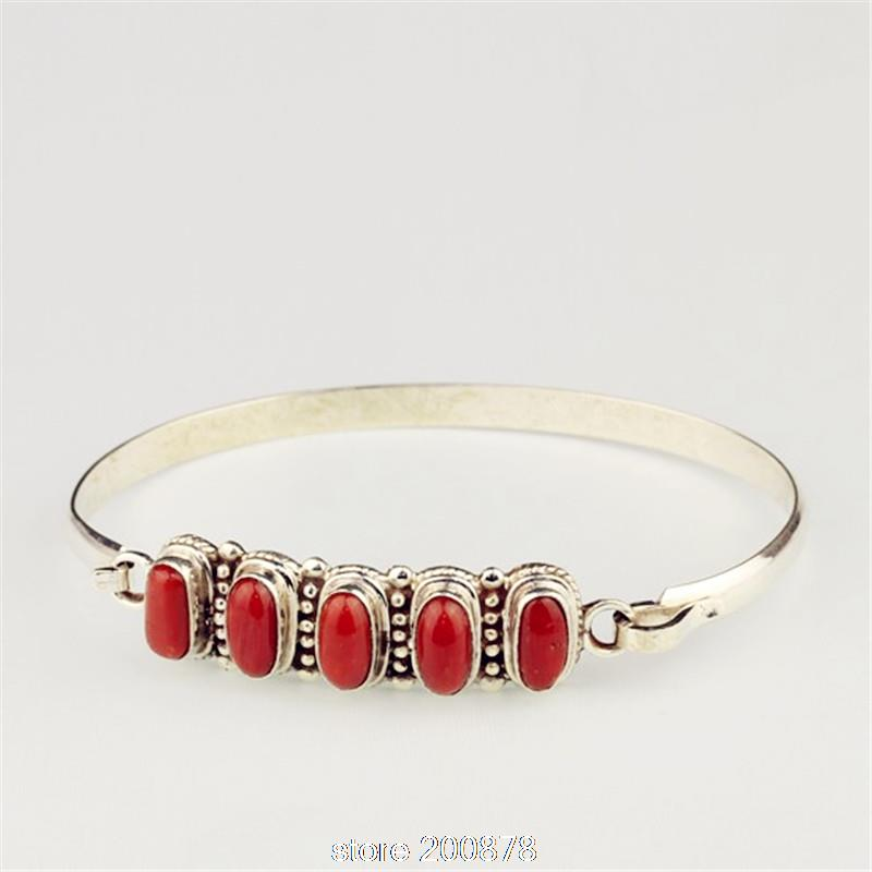 T9173 Nepal 925 sterling Silver inlaid Natural Red Coral vintage Slim Girls bracelets bangles,free shipping