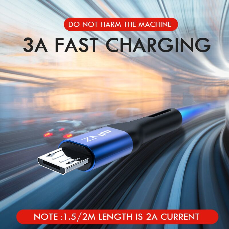 ZNP 1m 2m Micro USB Cable Fast Charging For Xiaomi Redmi Note 5 Pro Android Mobile Phone Data Cable for Samsung S7 Micro Charger Mobile Phone Accessories Mobile Phone Cables Smartphones