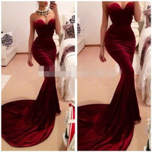 Long Train Burgundy Mermaid Evening Dress 2016 Ever Pretty Robe De Soiree Grande Taille Sweetheart Sexy Backless Prom Occasion