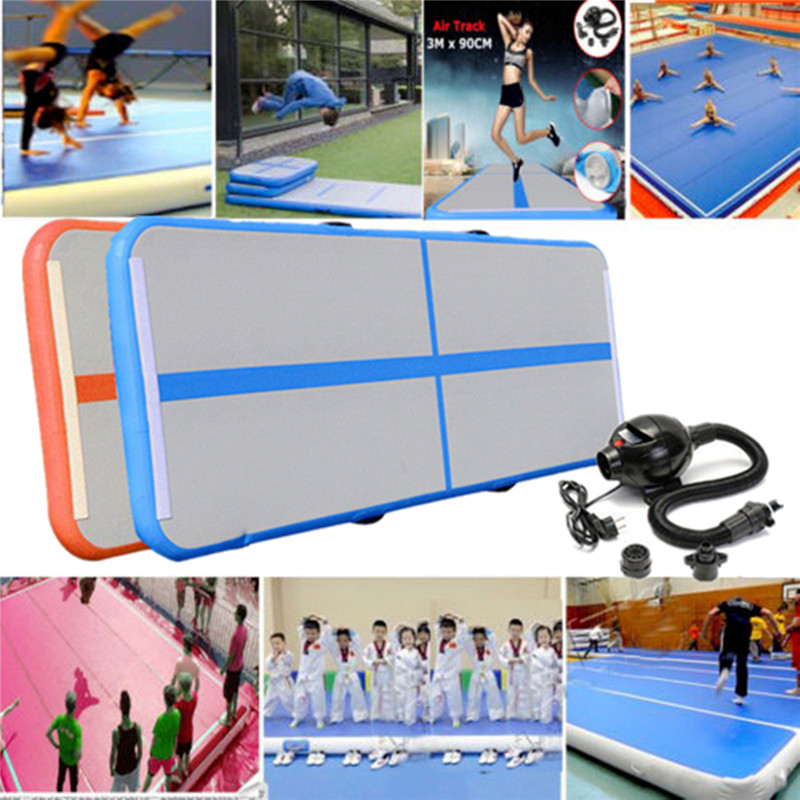 Newest Inflatable Air Track Mat Balance Gymnastics Inflatable Air Track Tumbling Mat + Pump Yoga Mats Fitness Gym Exercise Mat gymnastics exercise workout flooring gym mat 2 4mx1 2mx3cm
