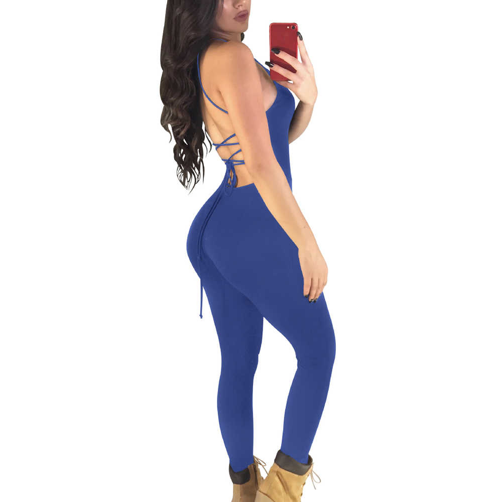 9f3b42ba2aa736 Sexy Backless One Piece Yoga Set Summer Slim Female Playsuit Sleeveless  Rompers Women Jumpsuit Workout Leggings