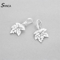 Tree Leaves 100 925 Sterling Silver Temperament Hollow Maple Leaf Stud Earrings For Women Girl Fashion