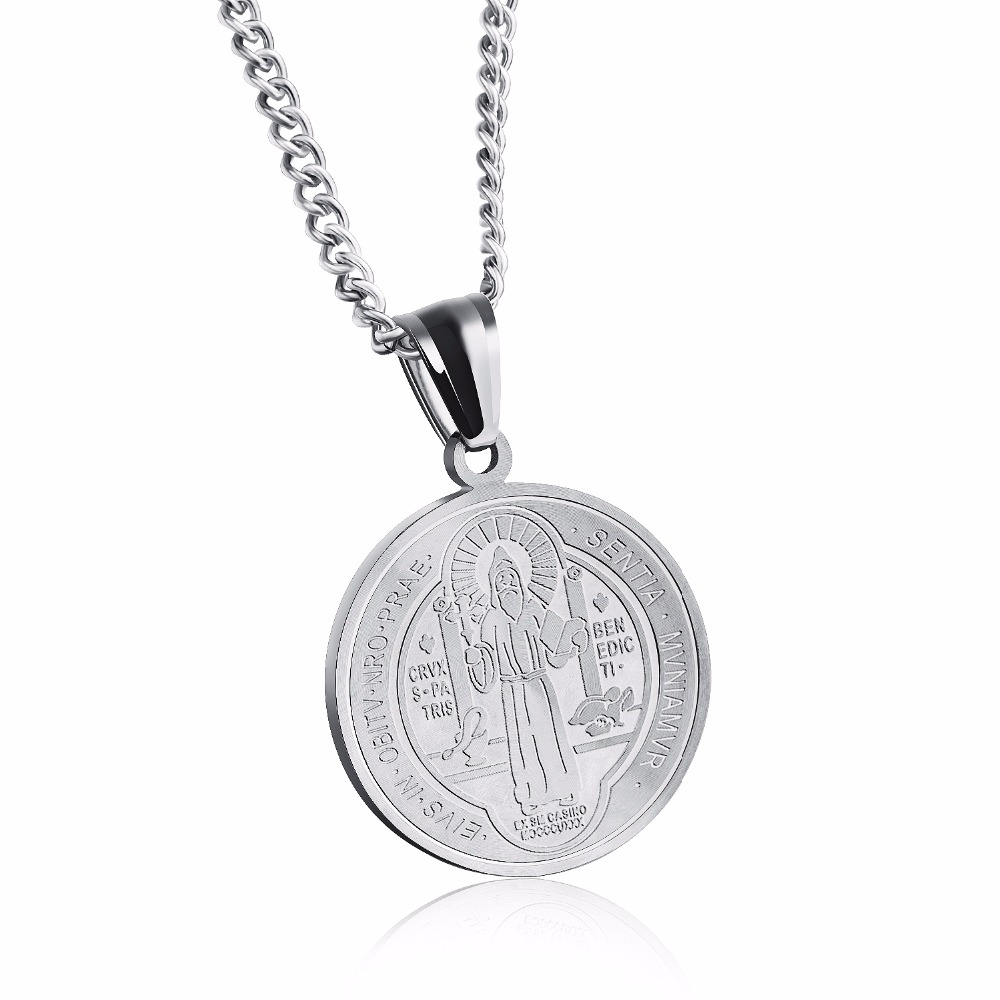 Gold Color Saint Benedict Medal Round Pendant Necklace For