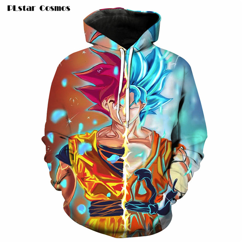 PLstar Cosmos 2018 New Fashion 3D Hoodeds Anime Dragon Ball Z Goku Super Saiyan Sweatshirts 3D Print pullovers Men Women hoody