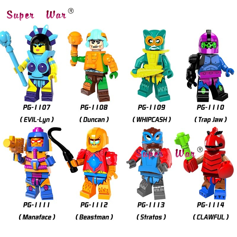 50pcs Super Heroes HE-Man MASTERS Evil-Lyn Whipcash Trap Jaw Manaface Beastman Kid Cute Fun building block for children toys