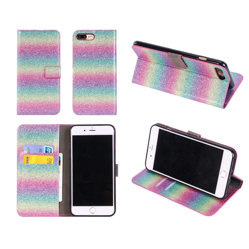 Glitter leather case for iphone 7 7plus 6 6s plus 5 5S SE Case Rainbow Shining Flip Cover for Samsung S8 S8plus Case