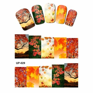 Image 2 - 12 PACK/ LOT  WATER DECAL NAIL ART NAIL STICKER SLIDER FULL COVER RED YELLOW MAPLE TREE AUTUMN FALLING LEAF LEAVES  UP25 36