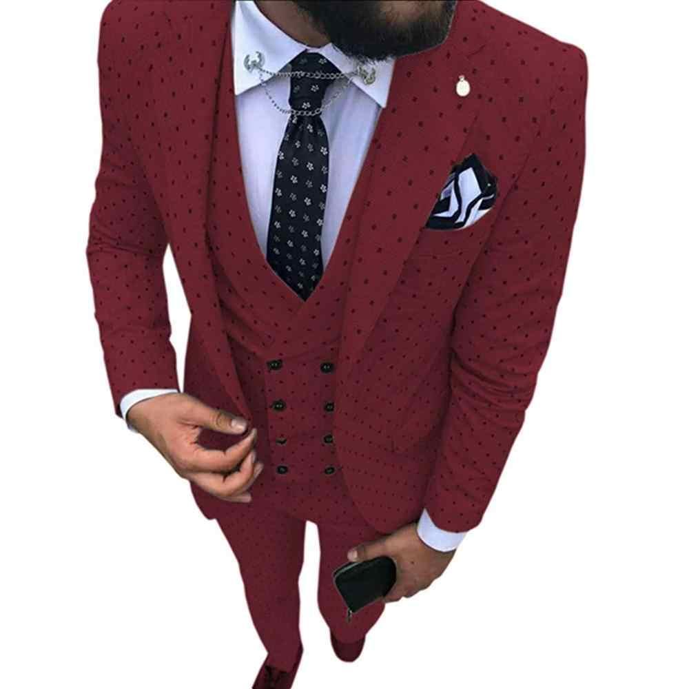 2019 男性の斑点スーツ 3 枚カジュアルノッチラペルスリムフィットダブルブレストベストタキシード花婿の付添人のためのパーティー (ブレザー + ベスト + パンツ)