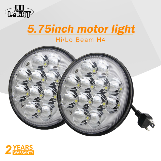 CO LIGHT 1 Pair 5.75 Inch Motorcycle Headlight 72W 9V to 32V 6000K H4 Car Led Headlights Hi Lo for Bike Motorcycle