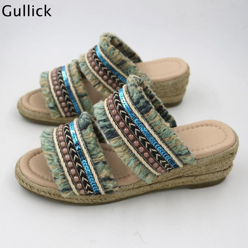 New Arrival Bohemian Style Outside Braided Heels Woman Slippers Wedge Ethnic Chic Beachwear Cool Beading Slides Real PhotoNew Arrival Bohemian Style Outside Braided Heels Woman Slippers Wedge Ethnic Chic Beachwear Cool Beading Slides Real Photo
